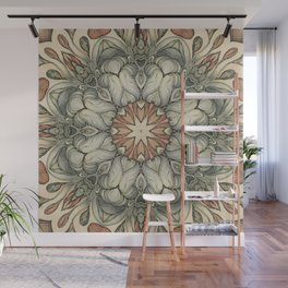 abstract flowers hand drawn and  kaleidoscope mandala Wall Mural