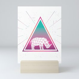 Colorful Rhinoceros Geometrical Rhino Triangle Retro Style design Mini Art Print