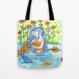Sunflower Mermaid Tote Bag