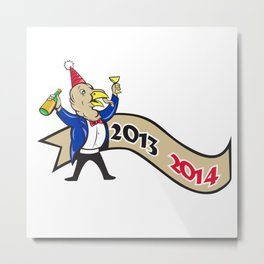 Happy New Year 2014 Turkey Toasting Wine Cartoon Metal Print