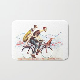 Pair of cyclists Bath Mat