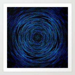 Spinning blue waves Art Print