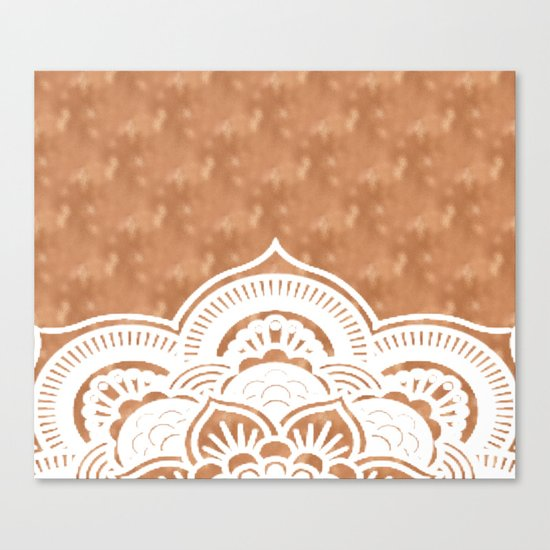 White mandala on copper Canvas Print
