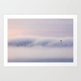 Foggy sunrise morning landscape and small tower Art Print