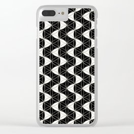 Waves Pattern Black-White Clear iPhone Case