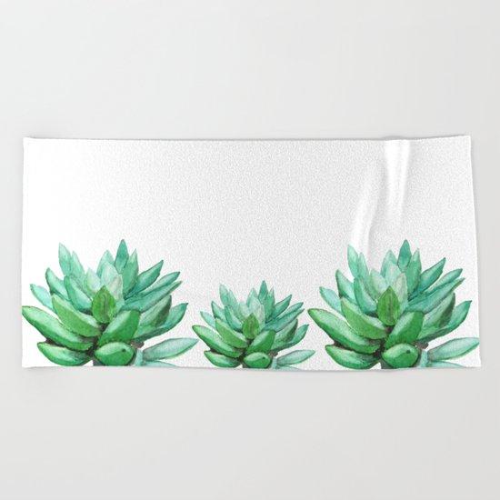 succulent echeveria Beach Towel
