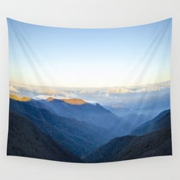 Clouds over mountains  Wall Tapestry