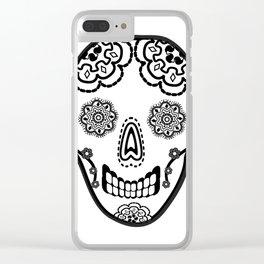 Black and White Sugar Skull (Calavera) Clear iPhone Case