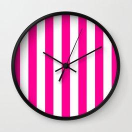Vertical Stripes (Magenta/White) Wall Clock