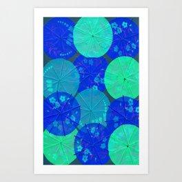 Blue Umbrellas Art Print