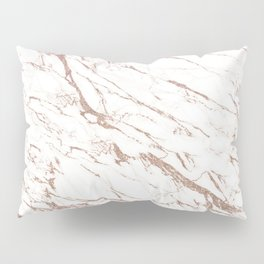 Rose Gold Marble with Faux Glitter Pillow Sham