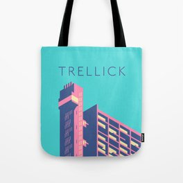 Trellick Tower London Brutalist Architecture - Text Sky Tote Bag