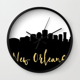 NEW ORLEANS LOUISIANA DESIGNER SILHOUETTE SKYLINE ART Wall Clock