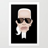 karl Art Prints featuring Karl Lagarfeld by vainuidecastelbajac