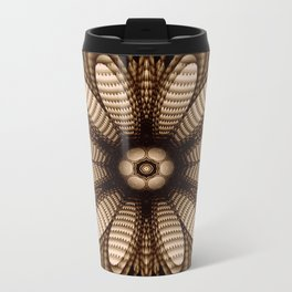 Abstract flower mandala with geometric texture Metal Travel Mug