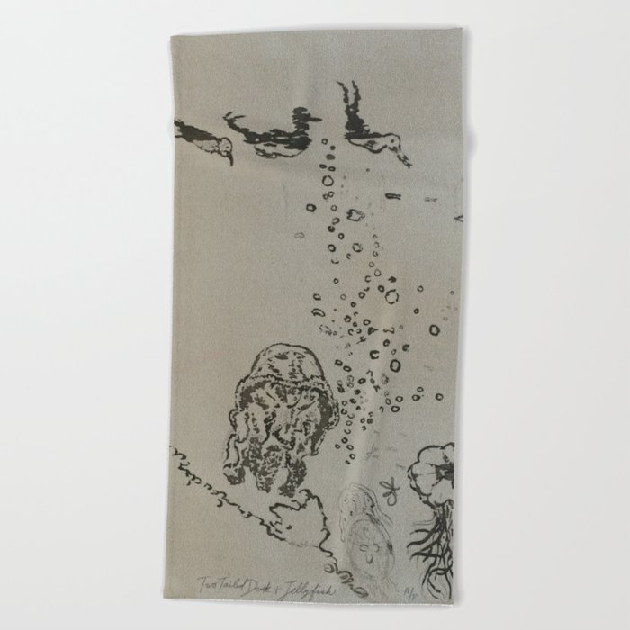 Under The Sea Green Black and White Beach Towel