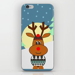 Reindeer in snow iPhone Skin