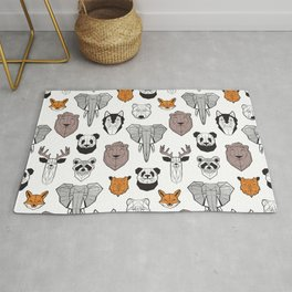 Friendly geometric animals // white background black and white orange grey and taupe brown animals Rug