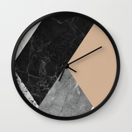 Black and white marbles and pantone hazelnut color Wall Clock