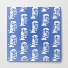 Tuba Pattern Blue Metal Print