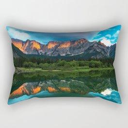 Burning sunset over the mountains at lake Fusine, Italy Rectangular Pillow