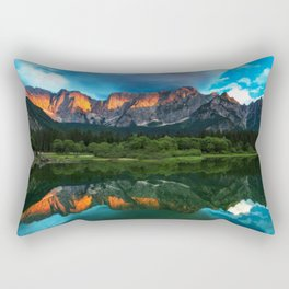 Burning sunset over the mountains at lake Fusine, Italy Rectangular Pillow