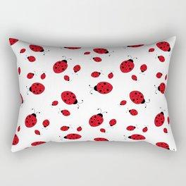 Ladybugs on White Rectangular Pillow