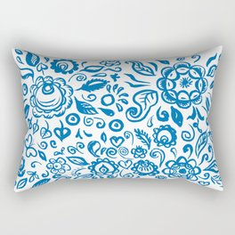 Beautiful folk art floral ornament with blue flowers on white background Rectangular Pillow