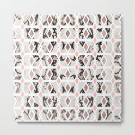 Modern Marble Rose Gold Blush Pink Geometric Metal Print