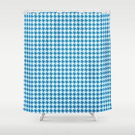 PreppyPatterns™ - Modern Houndstooth - Azure Blue and White Shower Curtain