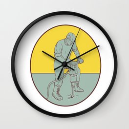 Construction Worker Operating Jackhammer Oval Drawing Wall Clock