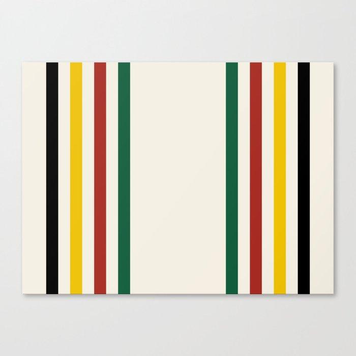 Rustic Lodge Stripes Black Yellow Red Green Leinwanddruck