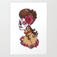 Glamorous Sugar Skull Girl Art Print