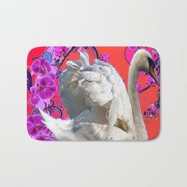 Abstracted Swan Purple Fantasy Art Bath Mat