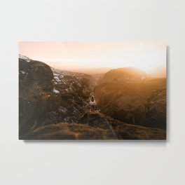 Golden hour above an icelandic canyon Metal Print