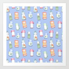 Thermos Pattern Blue Art Print