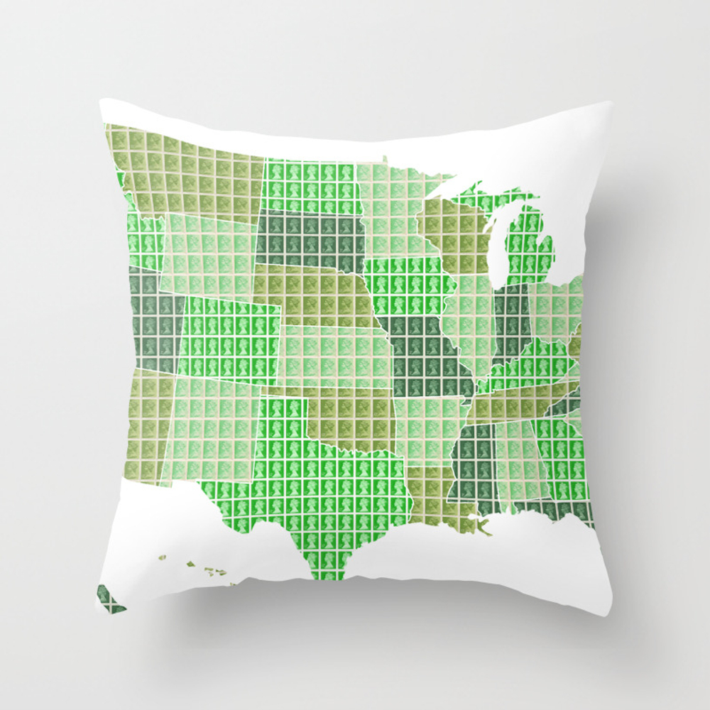 United States Map - Green Throw Pillow by Cocksoupart PLW8099215