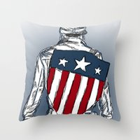 chris evans Throw Pillows featuring Captain America (Chris Evans) by  Steve Wade ( Swade)