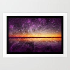 Violet Stars And Sunset Lake Art Print