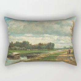 Landscape in the Environs of The Hague - Willem Roelofs (I) (1870-1875) Rectangular Pillow