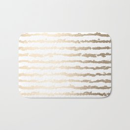 White Gold Sands Ink Stripes Bath Mat