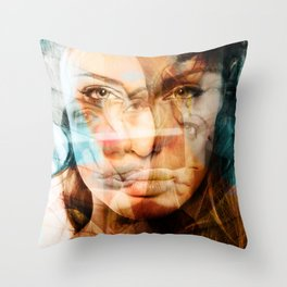 faces of Angelina Jolie Throw Pillow