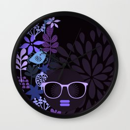 Afro Diva : Sophisticated Lady Purple Lavender Wall Clock