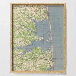 Vintage Rehoboth & Bethany Beach DE Map (1944) Serving Tray