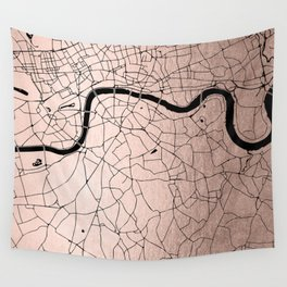 London Rosegold on Black Street Map Wall Tapestry