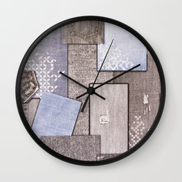 Background of pieces of denim Wall Clock