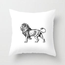Strong Proud Lion Black Throw Pillow