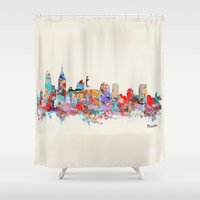 philadelphia Shower Curtains featuring Philadelphia Pennsylvania skyline by bri.buckley