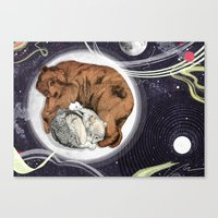 the moon Canvas Prints featuring Moon by Sandra Dieckmann