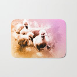 Cygnets Huddle Together Bath Mat